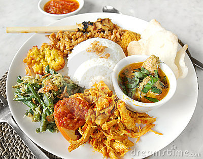 Asian ethnic food, nasi campur