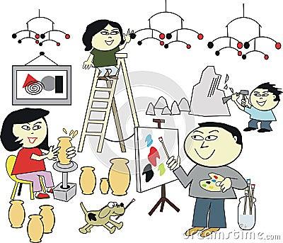 Asian family artwork cartoon