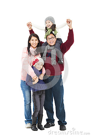 Asian family in winter clothes