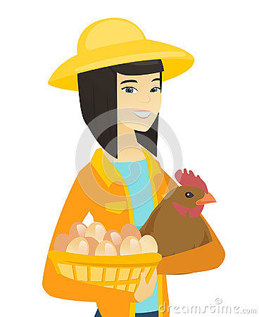 Asian farmer holding chicken and basket of eggs. Vector Illustration