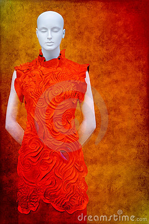 Asian fashion dress on mannequin
