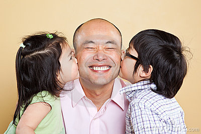 Asian father and kids