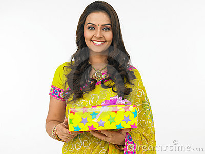 Asian female with gift boxes