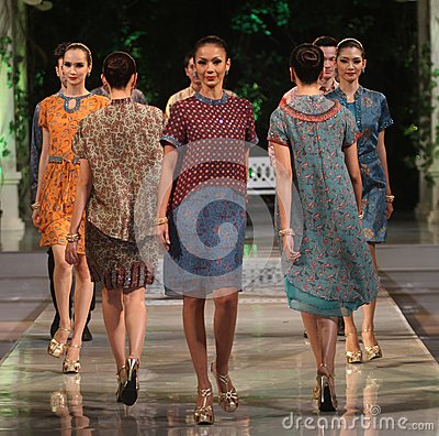 Asian female model wearing batik at fashion show runway Editorial Image