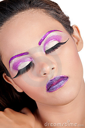 Asian female with purple makeup