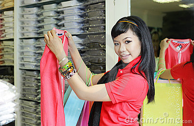 Asian female shopping