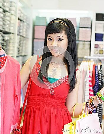 Asian female shopping