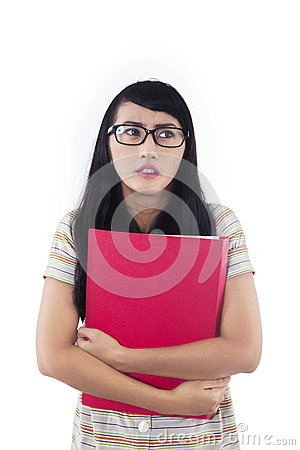 Asian female student with fear expression - isolated