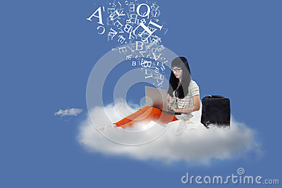 Asian female student sit on cloud with laptop and letters