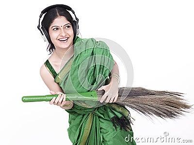 Asian female sweeper