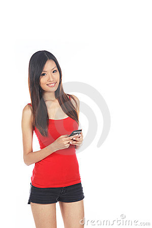 Asian Female Using Handphone