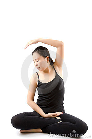 Asian female yoga isolated.