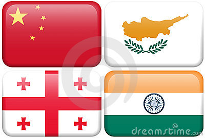Asian Flag Buttons: China, Cyprus, Georgia, India