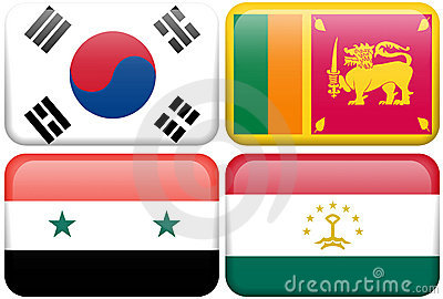 Asian Flag Buttons: South Korea, Sri Lanka, Syria