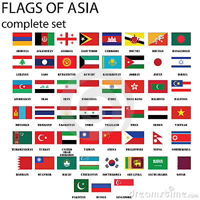 Asian continent flags, complete set in original colors.