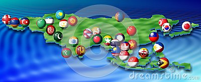 Asian flags and map