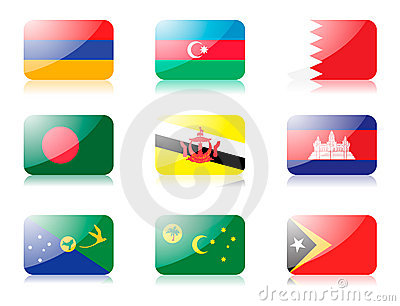 Asian flags set 1