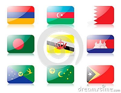 Asian flags set 1