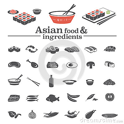 Asian food icons ingredients stock vector image 45448062 for Asian cuisine ingredients