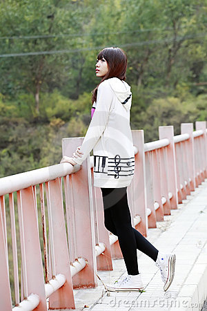 Asian girl in autumn