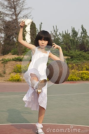 Asian girl and basketball