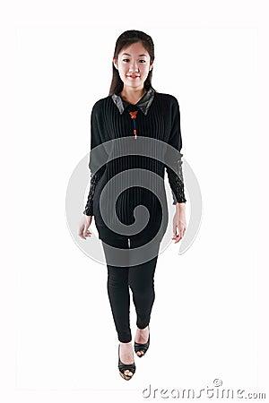 Asian girl in black dress