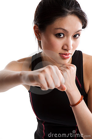 Asian girl boxing