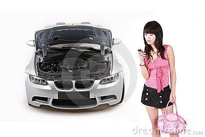 Asian girl with breakdown car.