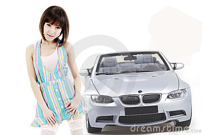 Asian girl with car