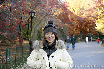 Asian girl in Central Park
