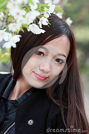 Asian girl with cherry flowers