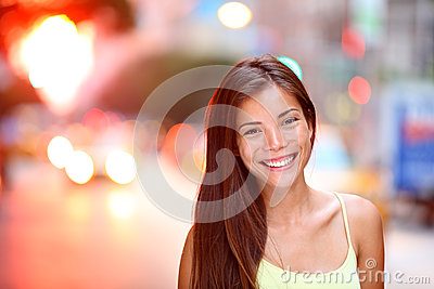 Asian girl city portrait