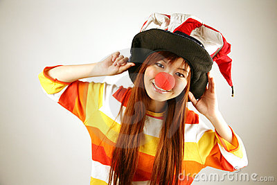 Asian girl clown