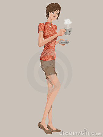 Asian Girl with a coffee cup