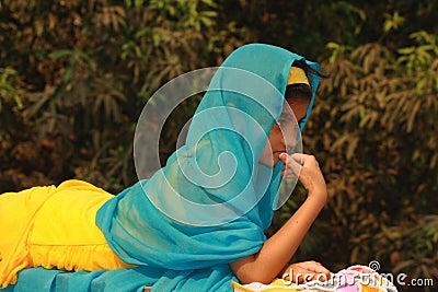 Asian girl in colorful sari