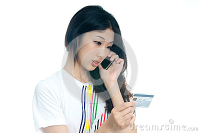 Asian girl with credit card