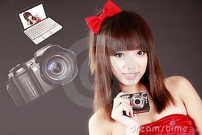 Asian girl with digital camera