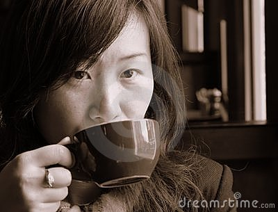 Asian Girl Drinking Coffee Stock Photos - Image: 2869463