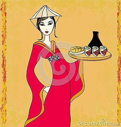 Asian girl enjoy sushi - doodle illustration