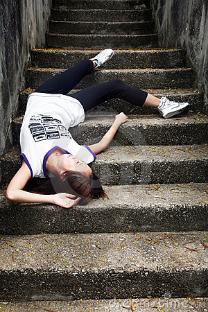 Asian girl fallen down steps