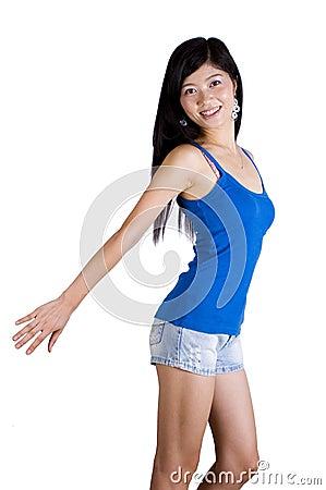 Asian girl - fitness exercise