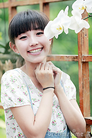 Asian girl with flower