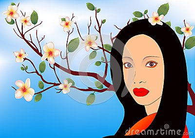 Asian girl in the garden