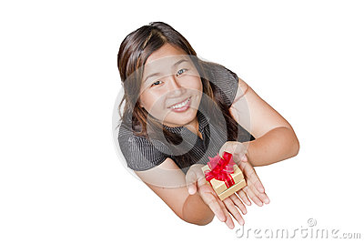 Asian girl and gift  isolated on white background