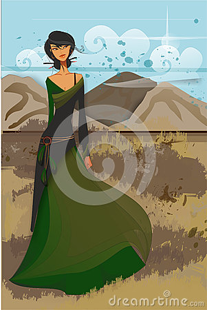 Asian girl in green long dress in mountains