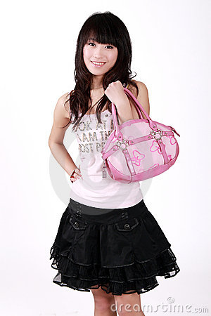 Asian girl with handbag