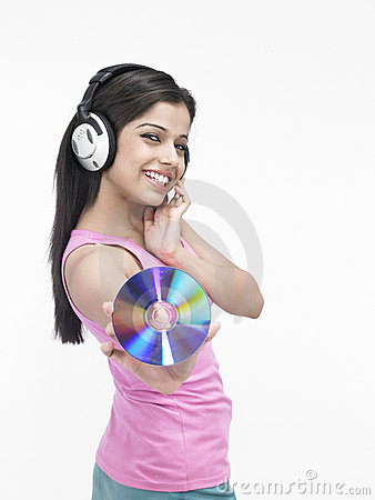 Asian girl with her headphones