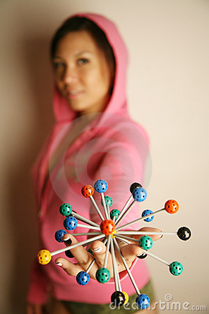 Free Asian Girl Holding 3-D Diagram Royalty Free Stock Photo - 2389155
