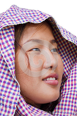 Asian girl isolated on white background