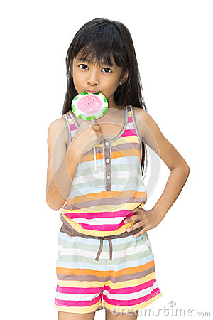 Asian girl with lollipop